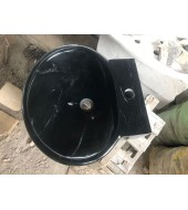 Black Marble Round Polished Washbasin