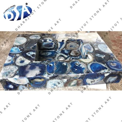 Blue Agate Quartz Washbasin