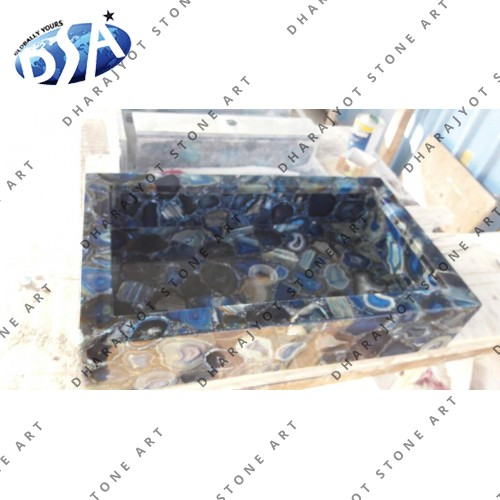 D Blue Agate Quartz Washbasin