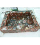 D Brown Agate Quartz Washbasin