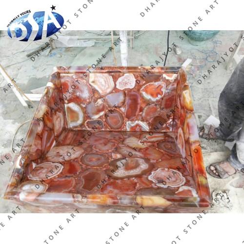 Brazil Red Agate Quartz Washbasin