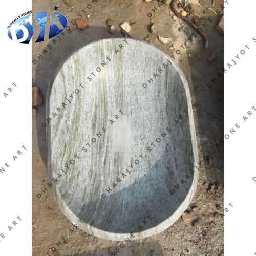 Green Marble Polished Oval Washbasin Sink
