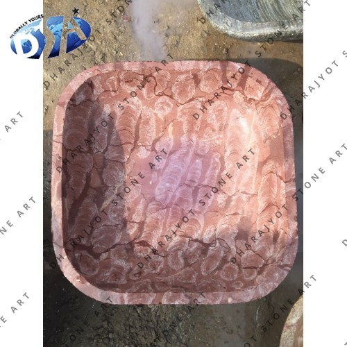 Red Marble Polished Square Washbasin Sink