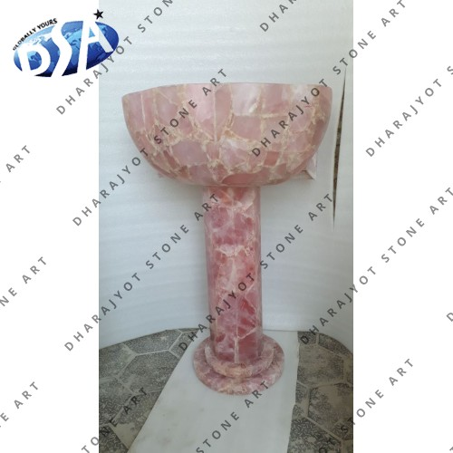 Pink Quartz Sink with Standing Base