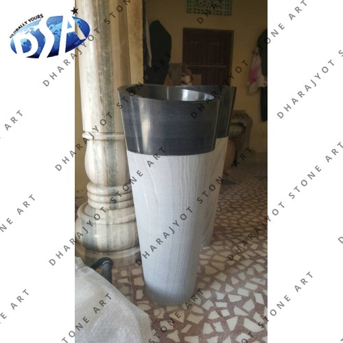 Black Marble Antique Design Standing Washbasin Sink